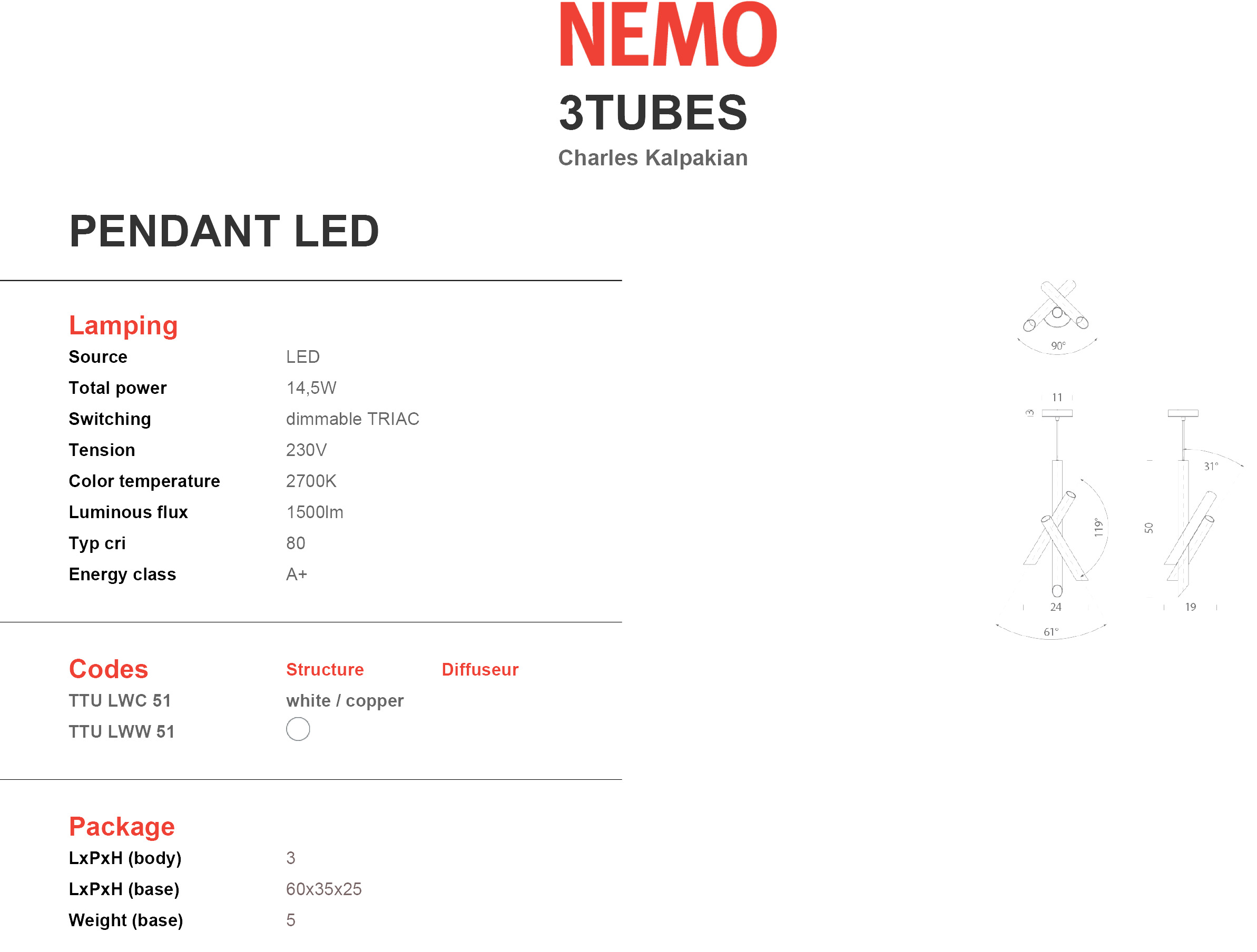 Nemo Lighting 3 Tubes Tech