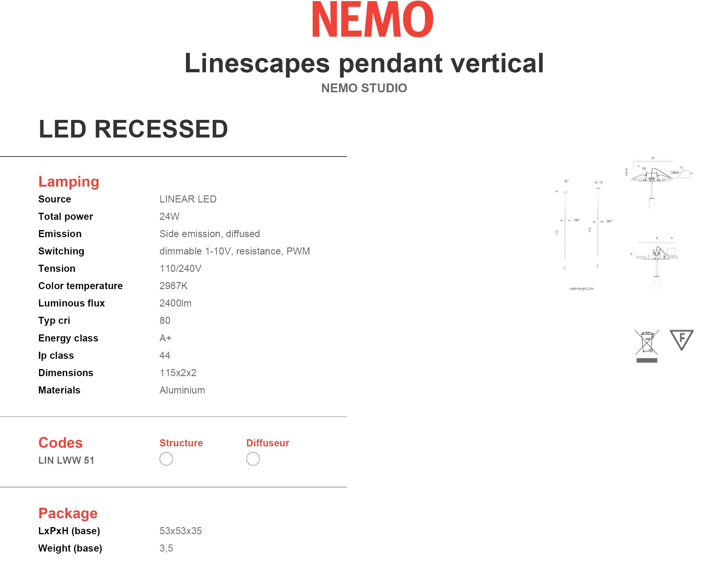 Nemo Linescapes Pendant Vertical Recessed Tech