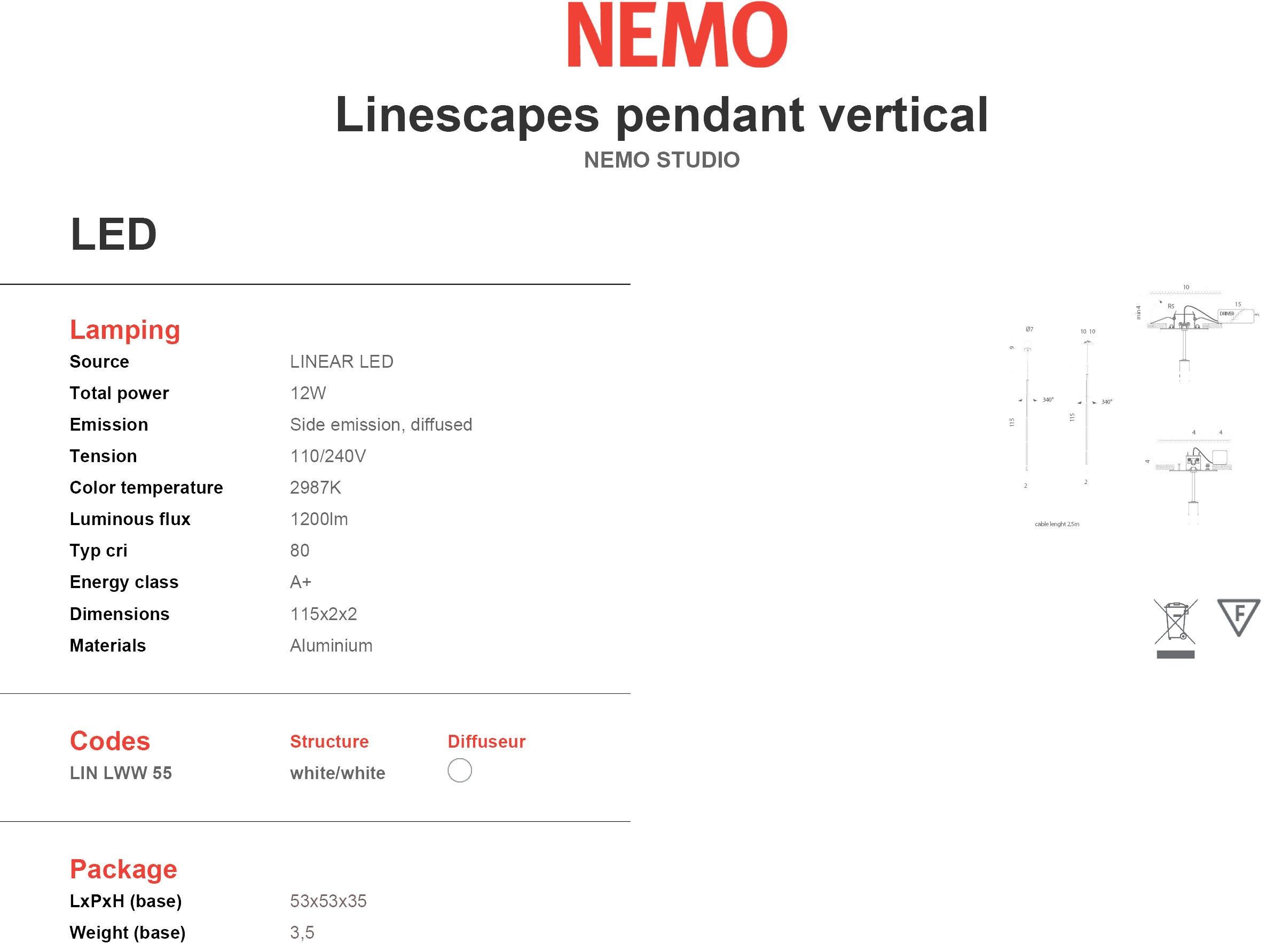 Nemo Linescapes Pendant Vertical Tech