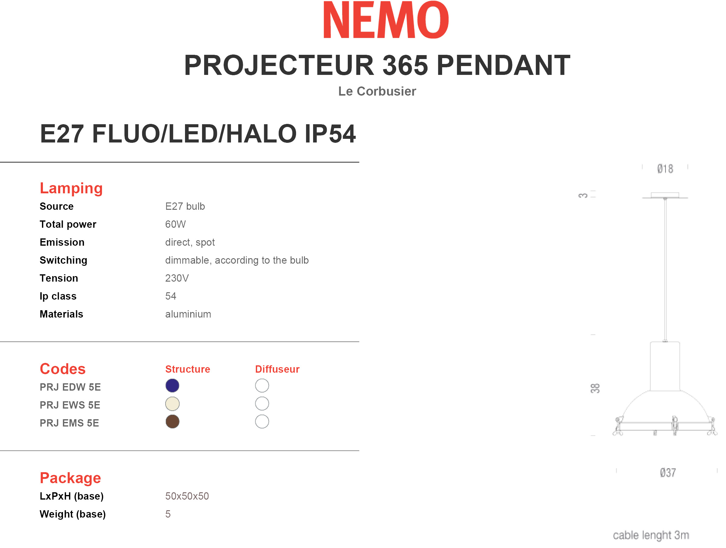 Nemo Projecteur 365 Pendant IP54 Tech