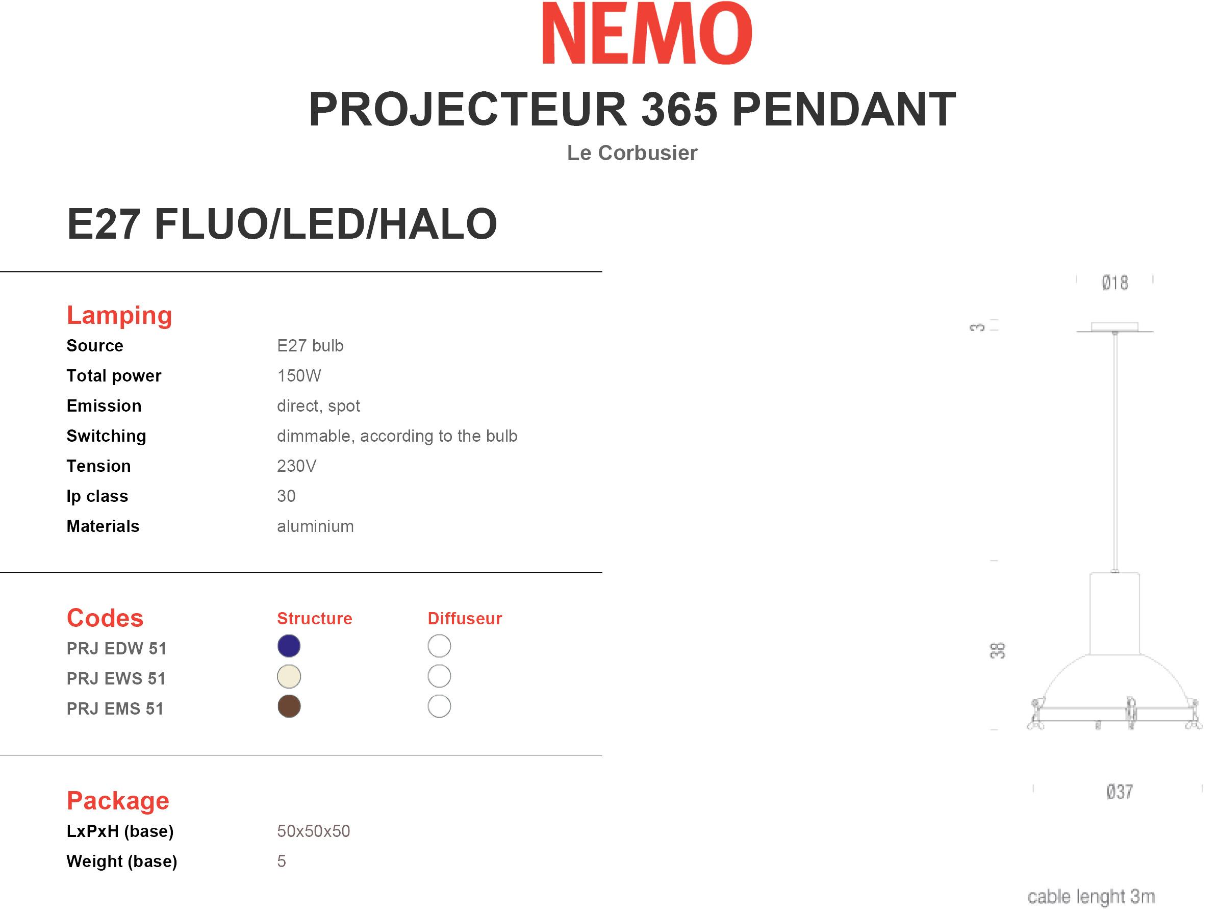 Nemo Projecteur 365 Pendant Tech