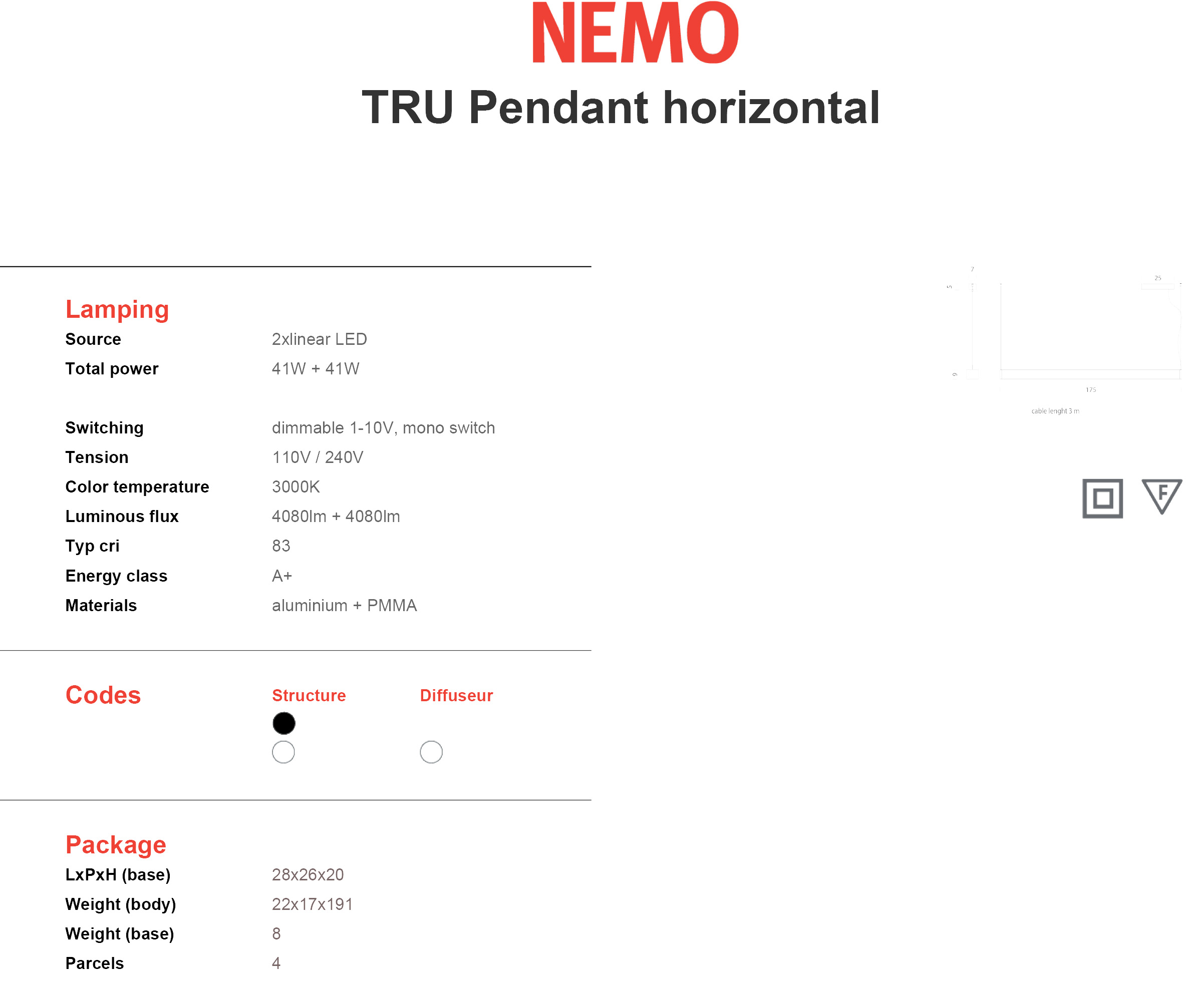 Nemo Tru Pendant Horizontal Tech
