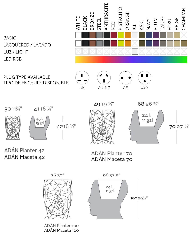 Vondom Adan Pot Faceted Lighting Flowerpots Led Battery