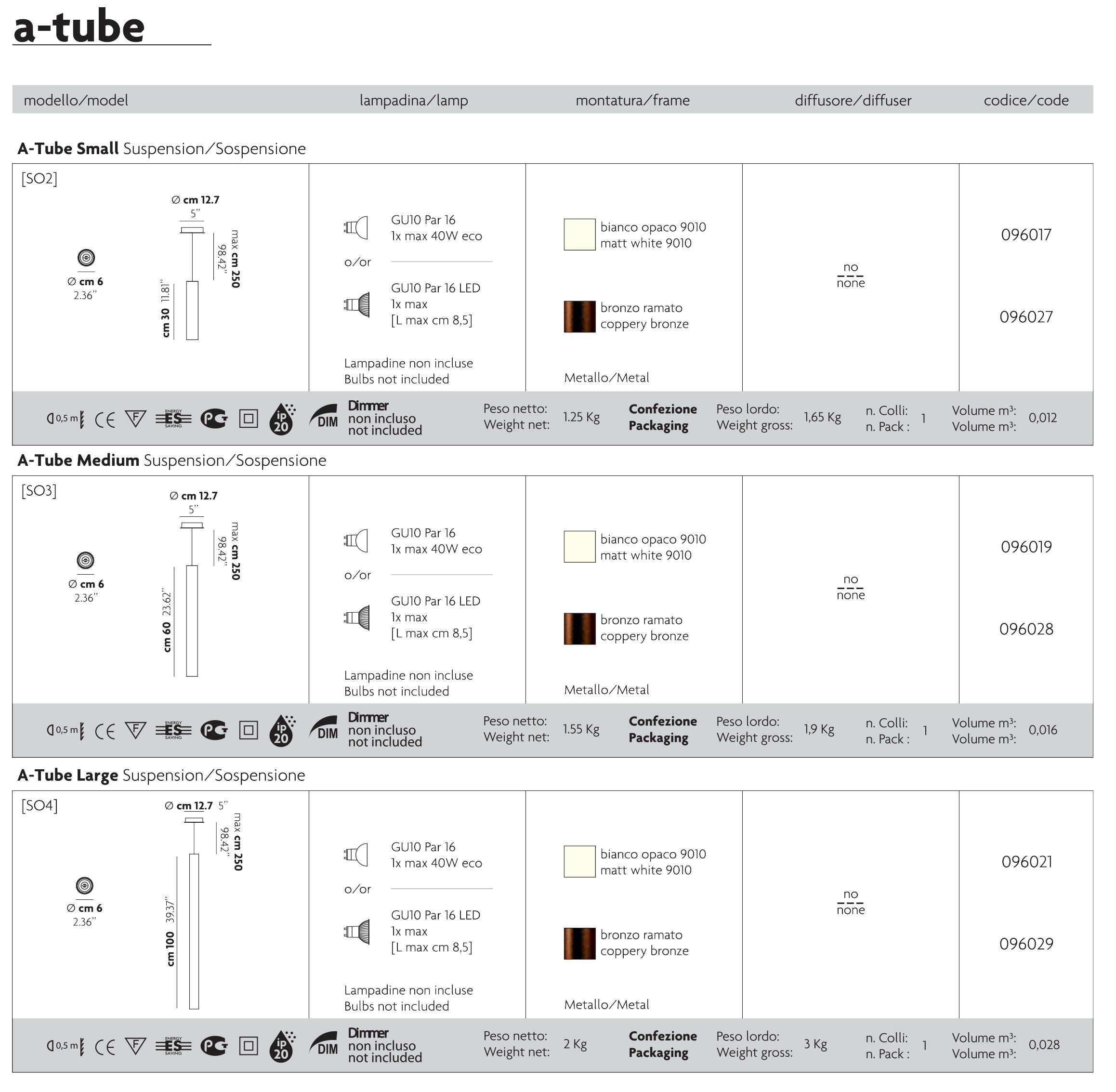 Studio Italia Design ATube Suspension Design Lighting